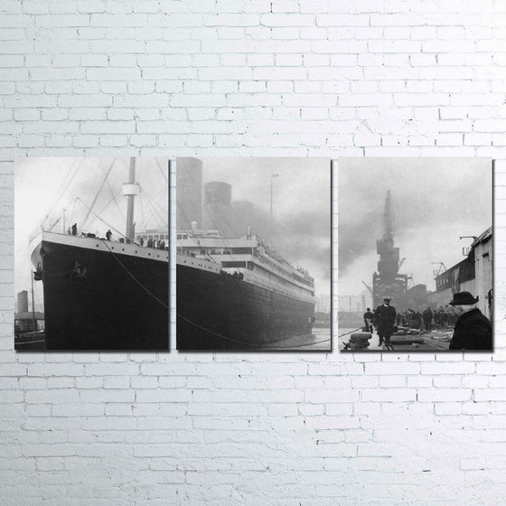 Titanic ship black white 3 panel print on canvas Framed UNframed