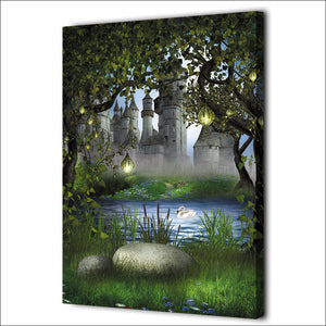 Forest Castle Fairy Tale Wonderland Wall Art Canvas Print Wall Decor Poster : cheap canvas prints wall paintings pictures