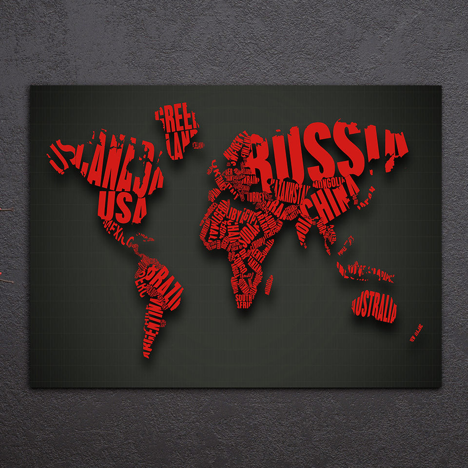 1 piece world map red color 3d look canvas wall art print poster 1 piece world map red color 3d look canvas wall art print poster ash wall gumiabroncs Gallery