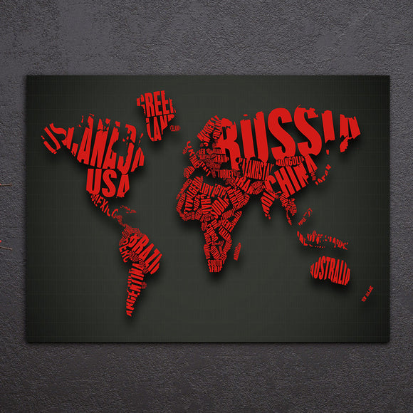 1 Piece World Map Red Color 3d look Canvas Wall Art Print Poster - ASH Wall Decor - Wall Art Canvas Panel Print Painting