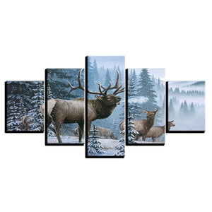 5 Panel Elk Family In Snow Pine Tree Winter Scene Canvas Panel Art Picture Print : cheap canvas prints wall paintings pictures