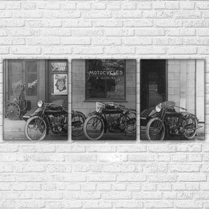 3 Panel Harley-Davidson 1903 Motorcycle Black And White Canvas Print : cheap canvas prints wall paintings pictures