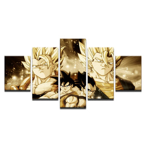 5 Panel Dragon Ball Wall Art Poster Cartoon For Living Room Cuadros Modular