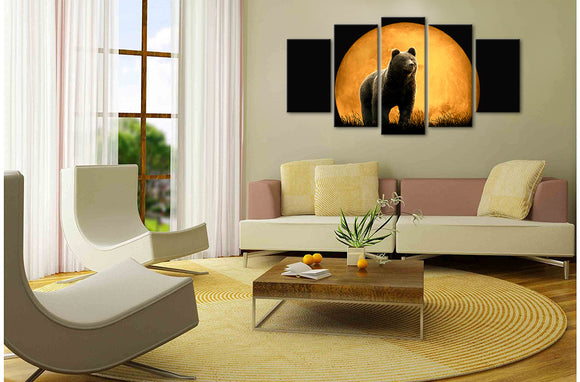 Black Bear Moon Wall Art Canvas Framed Unframed - ASH Wall Decor - Wall Art Picture Painting Canvas Living Room