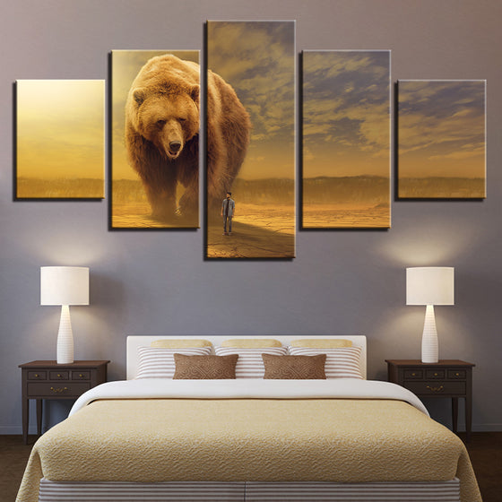 BIG Oversized Brown Bear Canvas Print Home Decoration For Living Room - ASH Wall Decor - Wall Art Picture Painting Canvas Living Room