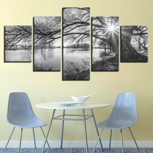 Lakeside Lake Big Trees Tree Sunset Wall Art Paint Panel Print Framed UNframed : cheap canvas prints wall paintings pictures