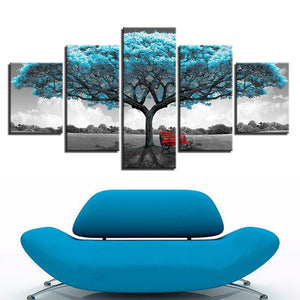 5 Pieces Blue Big Teal Blue Tree Red Chair Picture Abstract Landscape Poster Wal : cheap canvas prints wall paintings pictures