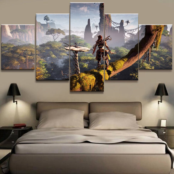 5 piece canvas wall panel print poster picture Horizon Zero Dawn video game