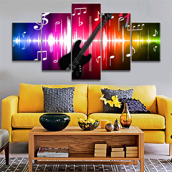 5 Panel Guitar Musical Instrument Note Wall Art Canvas Panel Framed Unframed - ASH Wall Decor - Wall Art Picture Painting Canvas Living Room
