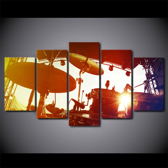 Rock Music Drums Sunset Cymbals Wall Art Canvas Framed UNframed - ASH Wall Decor - Wall Art Picture Painting Canvas Living Room