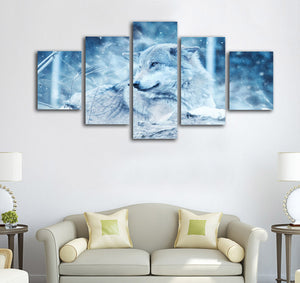 5 Panel Winter Wolf In Snow Winter Scene Wall Art Print Canvas Framed UNframed : cheap canvas prints wall paintings pictures