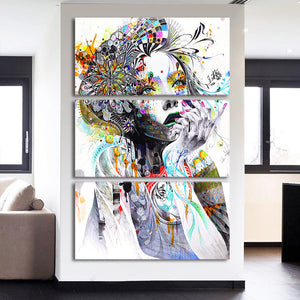3 Panel Color Woman Flower Hair Canvas Print Wall Picture for Living Room : cheap canvas prints wall paintings pictures