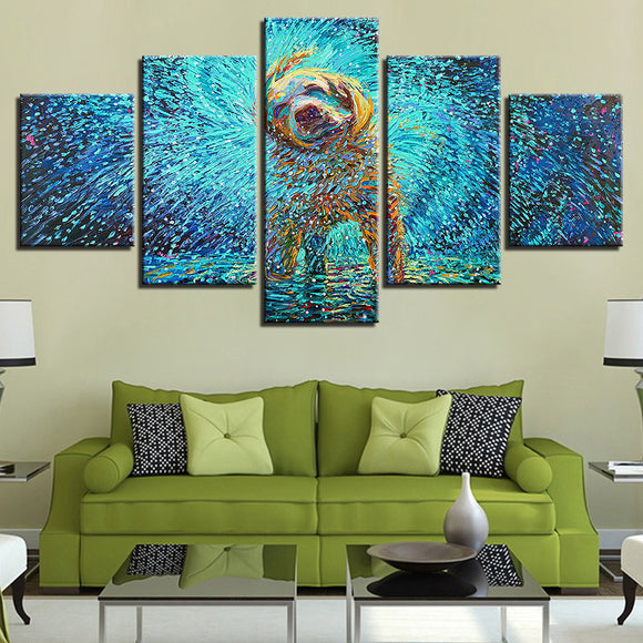 Puppy Dog Shaking Water 5 panel wall art on canvas print Framed UNframed