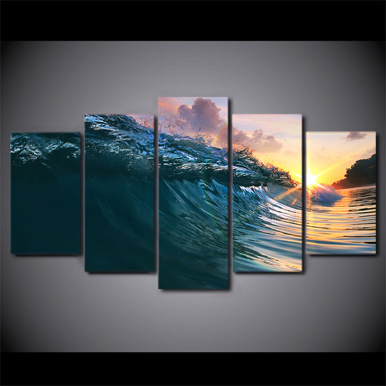 Ocean Surf Wave Surfing at Sunset Canvas Wall Print for Living Room Home Decor - ASH Wall Decor - Wall Art Canvas Panel Print Painting