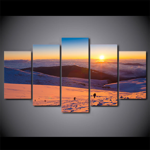 Winter Scene Snowboard Skiing  Canvas Print at Sunset Wall Picture for Living Room Framed UNframed - ASH Wall Decor - Wall Art Canvas Panel Print Painting