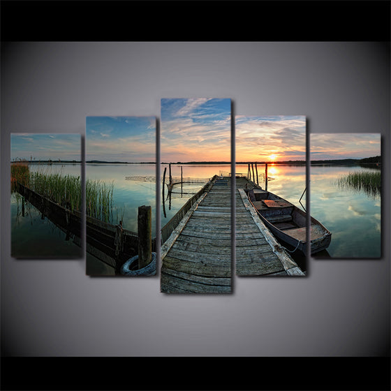 5 panel canvas art boat lake sunset print wall art print on canvas for living room - ASH Wall Decor - Wall Art Canvas Panel Print Painting