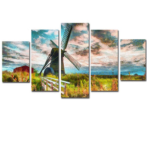 5 Piece Windmill Farm Island Landscape Scene Wall Art Canvas Panel Print : cheap canvas prints wall paintings pictures