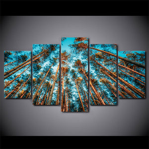 5 Panel Giant Trees Forest Wall Art Canvas Picture for Living Room Framed UNfram : cheap canvas prints wall paintings pictures