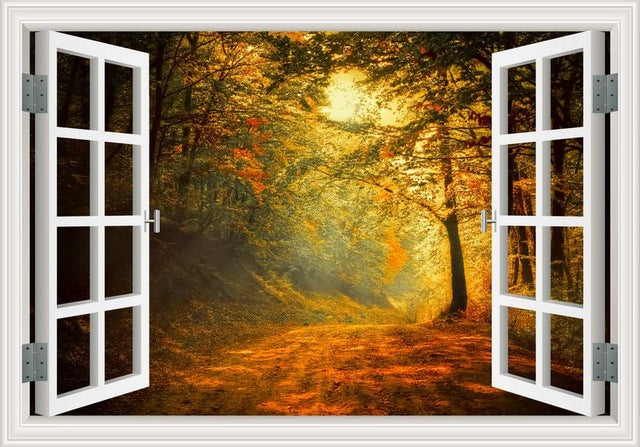 Amazing Forest Tree 3D Wall Sticker Removable Window View Landscape ...