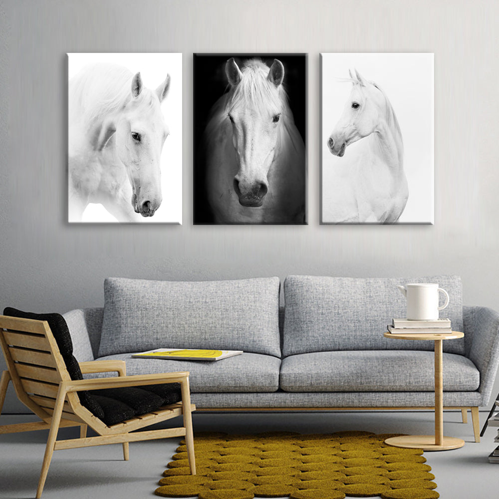 White Horse Wall Art Canvas Prints Modern Art Home Decor For Living ...