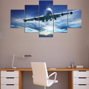Jet Airplane in sky takeoff landing wall art on canvas print Framed UNframed : cheap canvas prints wall paintings pictures