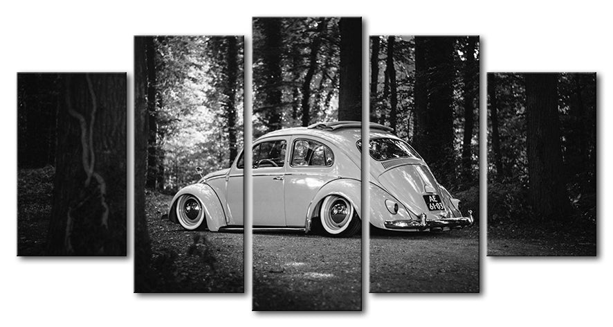 Volkswagen VW Beetle Bug Car Canvas Wall Art Picture 5 Pieces Framed ...