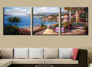 Mediterranean landscape sea canvas wall art decor Framed UNframed - ASH Wall Decor - Wall Art Canvas Panel Print Painting
