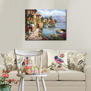 Mediterranean landscape Villa De Lago Wall Art Canvas wall art home decor : cheap canvas prints wall paintings pictures