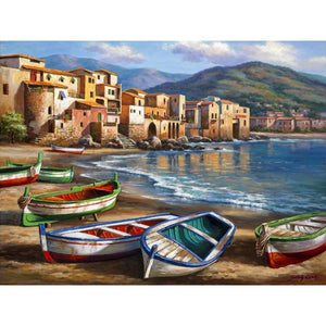 Mediterranean landscape Spiaggia Della Citta art for home restaurant wall : cheap canvas prints wall paintings pictures