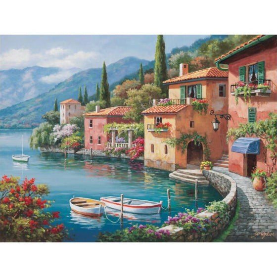 Villagio Dal Lago Mediterranean landscape canvas print wall art home decor - ASH Wall Decor - Wall Art Canvas Panel Print Painting