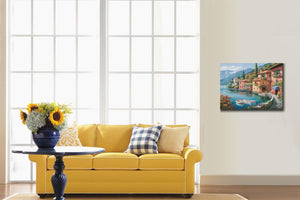Villagio Dal Lago Mediterranean landscape canvas print wall art home decor : cheap canvas prints wall paintings pictures