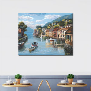 Village on the Water Mediterranean landscape wall art for restaurant home wall - ASH Wall Decor - Wall Art Canvas Panel Print Painting