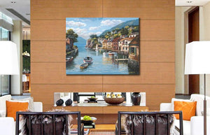 Village on the Water Mediterranean landscape wall art for restaurant home wall : cheap canvas prints wall paintings pictures