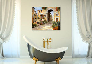 Mediterranean Entry Al Borgo canvas wall art landscape picture art for home wall decoration - ASH Wall Decor - Wall Art Canvas Panel Print Painting