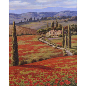 Mediterranean canvas wall art landscape pictures Red Poppy Field : cheap canvas prints wall paintings pictures