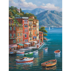 Villagio Del Porto Mediterranean landscape canvas wall art home decor : cheap canvas prints wall paintings pictures