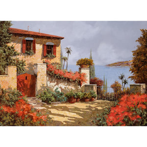 Mediterranean The red garden art canvas wall art landscape picture print : cheap canvas prints wall paintings pictures