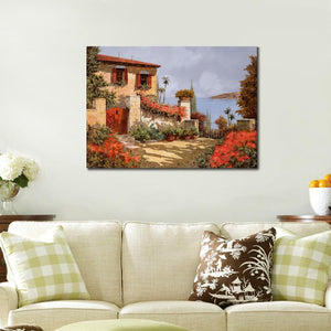 Mediterranean The red garden art canvas wall art landscape pictures Framed UNframed - ASH Wall Decor - Wall Art Canvas Panel Print Painting
