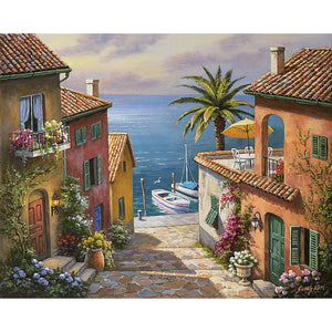 Mediterranean Villas Private Dock sea water landscape canvas wall print : cheap canvas prints wall paintings pictures