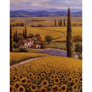 Mediterranean landscape wall art on canvas print Sunflower Field for home decor : cheap canvas prints wall paintings pictures