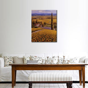 Mediterranean landscape wall art on canvas print Sunflower Field for home decor - ASH Wall Decor - Wall Art Canvas Panel Print Painting
