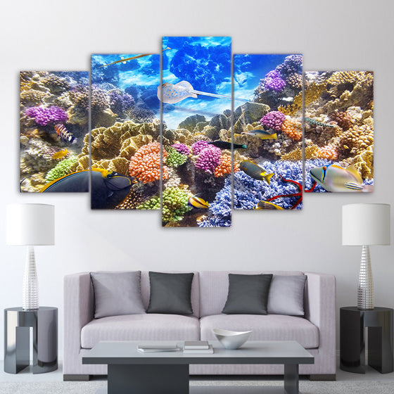 Underwater Ocean Coral Reef Color Fish Tank Picture Framed UNframed - ASH Wall Decor - Wall Art Canvas Panel Print Painting