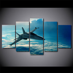 5 Panel Canvas Paint Jet Airplane Flying in Clouds  Wall Picture Framed UNframed : cheap canvas prints wall paintings pictures