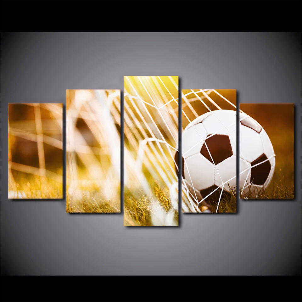 Soccer Ball and Net Wall Art on Canvas Game Sports Room Print Poster ...