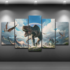 5 Pieces Jurassic Park Dinosaurs  Pictures For Living Room : cheap canvas prints wall paintings pictures