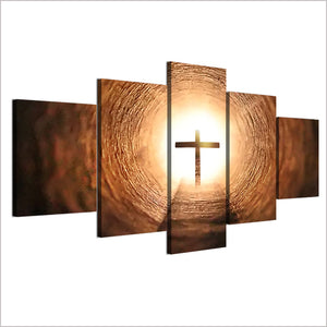 5 Panel Wall Art Jesus Cross Panel Print on Canvas Wall Decor Pictures : cheap canvas prints wall paintings pictures