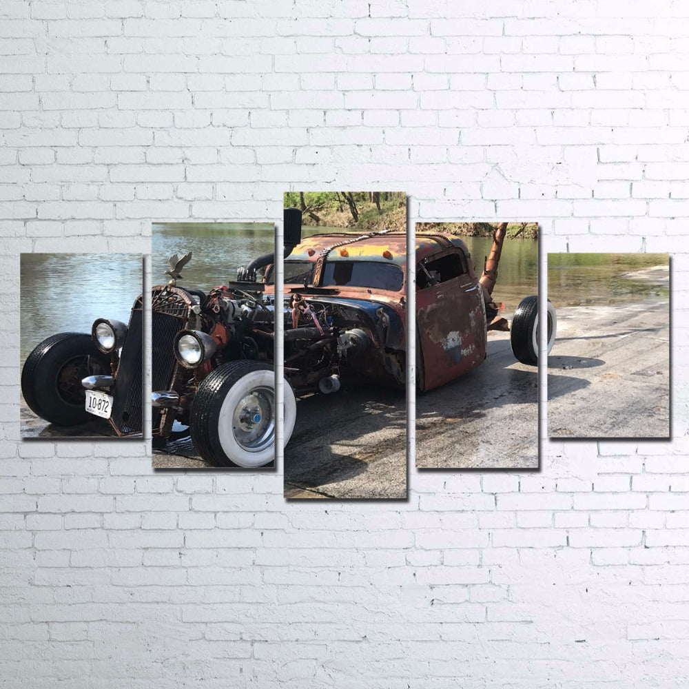 Old Hot Rod Rat Rod Patina Distressed Car Wall Art on Canvas Framed ...