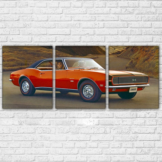 1967 Chevy Camaro SS RS Promo AD 3 Panel Wall Art Canvas - GREAT GIFT - ASH Wall Decor - Wall Art Canvas Panel Print Painting
