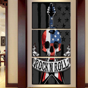 3 Panel Red White Blue Rock N Roll Skull Guitar Wall Art Panel Picture Print : cheap canvas prints wall paintings pictures