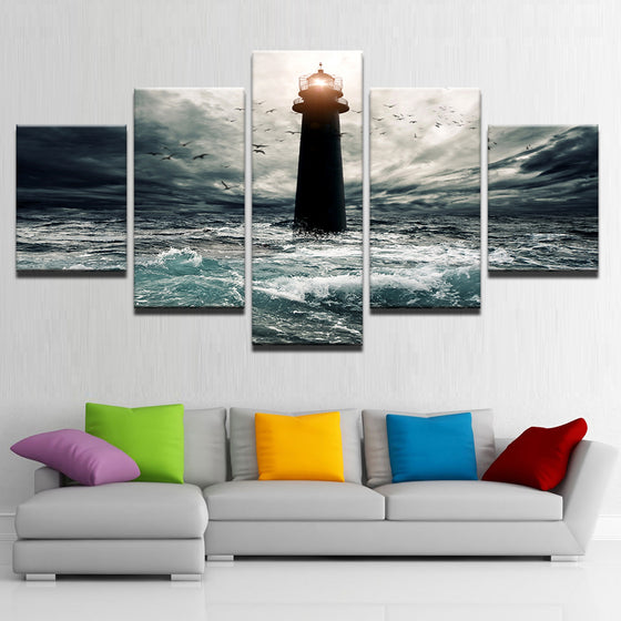 5 Panel Victory Ocean Lighthouse Seascape Storm Print  Wall Art Abstract Poster Framework - ASH Wall Decor - Wall Art Canvas Panel Print Painting